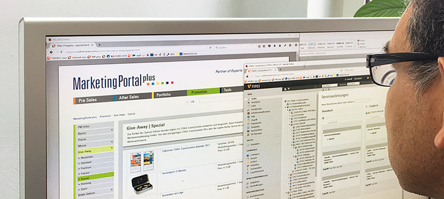 VISUELL – STAHL CraneSystems – All in One – MarketingPortal mit integrierter Shop-Funktion